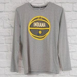 Adidas | Grey Indiana Pacers Long Sleeve Jersey T
